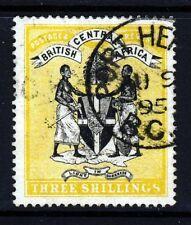 BRITISH CENTRAL AFRICA 1895 3 Shillings Black & Yellow No Watermark SG 27 VFU