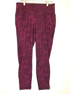 Lane bryant livi cropped skinny cut out lace up yoga pants pink maroon 14/16