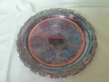"""HEAVY 15"""" VINTAGE ONEIDA SILVER PLATED SERVING TRAY PLATTER FLORAL/FLOWER EDGE"""
