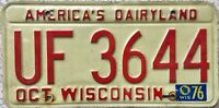 GENUINE 1976 Wisconsin America's Dairyland License Licence Number Plate UF 3644