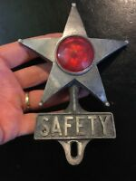 License Plate Safety Topper HOTROD Auto Car Truck Solid Metal Patina Man Cave NR