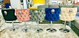 Valentino Lion Knocker Quilted Front Tufted back Plush Velvet Chrome Bar Stool