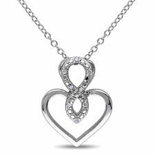 Amour Sterling Silver Diamond Accent Heart Infinity Necklace