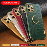 Case For iPhone 12 Pro Max 11 XS XR 8 7 Plus Crocodile Leather Ring Holder Cover