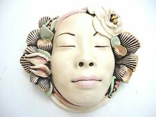 Carved Ceramic  woman with shells  Mask Sculptural art  by Jillian Barber. Rare
