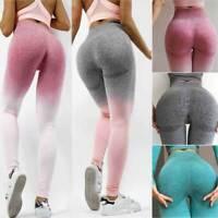 Women Seamless Leggings Yoga Pants High Waist Push Up Fitness Sports Gym Ombre P