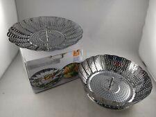 Two-Pack Large and StandardVegetable Steamer Basket Set Steamer Inserts No Hook