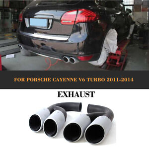 Edelstahl Endrohre Auspuffblenden für Porsche Cayenne V6 Engine 11-14 Tailpipe