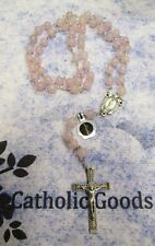 8 mm Rose Quartz Stone Beads with Deluxe Silver tone Oxidized Crucifix - Rosary