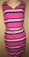 EUC Gap Striped Sleeveless V Neck Rayon Dress Pockets Elastic Waist Pink