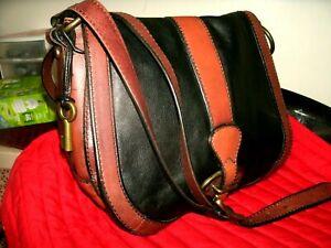 Fossil Maddox Beautiful Medium Black and Tan Leather Saddle Crossbody Bag EUC!