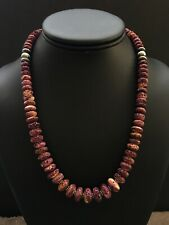 Sterling Silver Purple Spiny Oyster Bead Necklace. 18 inch