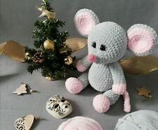 Mouse Soft Plush Knitted Toy Symbol of 2020 Decorative Handmade Toy