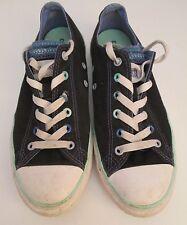 VTG Unisex Chuck Taylor CONVERSE Black/Aqua Double Canvas Lo Plimsoll/Shoe Sze 4