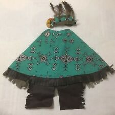 New listing Cement Lawn Goose Outfit Dress & Headband Southwest Native Am. Design Stained