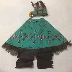 Cement Lawn Goose Outfit Dress & Headband Southwest Native Am. Design Stained