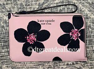 NWT KATE SPADE Cameron Grand Flora Medium L-Zip Wristlet Serendipity Pink P1