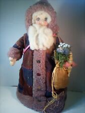 Holiday Santa Handmade Folkart Quilted Coat Hand painted Face 22""