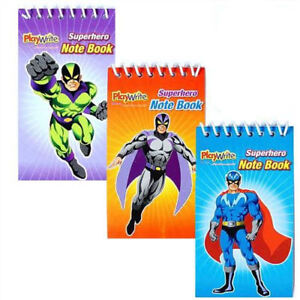 12 Super Hero Notebooks - Pinata Toy Loot/Party Bag Fillers Wedding/Kids