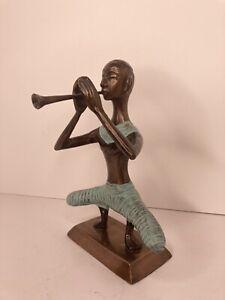 Bronze African Asian Horn PLAYER STATUE Sculpture FIGURINE Art METAL MCM