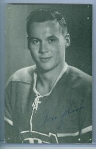 1950's B&W Portrait Montreal Canadiens Habs Signed Postcard - TOM JOHNSON