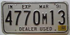 Indiana 1992 USED CAR DEALER License Plate # 4770M13
