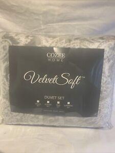 Cozee Home Paisley Velvetsoft 4 Piece Duvet Set Single Light Grey