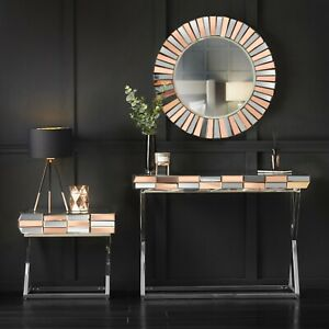 Rosegold Wall Mirror Mirrored Console Side Table Glass Living Room Furniture