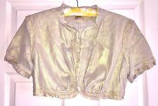 """June"" Shimmery GOLD Soft LEATHER Bolero Jacket Ruffles Short Sleeves Size L"