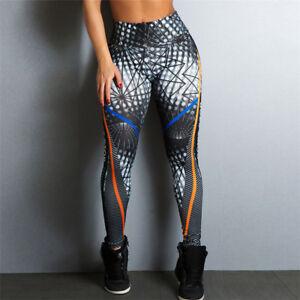 Women Ladies Sports Leggings Yoga Pants Printed Fitness High Waist Workout UK