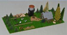 "Z Scale Barnyard Diorama w/ Cows, Horses, Water Tower, Barn & Trees 10"" x 4 1/4"""