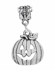 Jack-O-Lantern Carved Pumpkin Halloween Dangle Charm for European Bead Bracelets