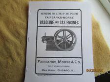 Super Rare 1902 Fairbanks Morse Gas Engine Instruction/Parts Manual  Reprint