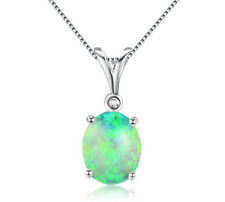 Fashion Woman 925 Silver Jewelry Green Fire Opal Charm Pendant Necklace Chain  ~