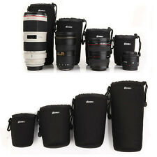 4PC Padded DSLR Camera Lens Insert Bag Pouch Case For Canon Sony Nikon S M L XL