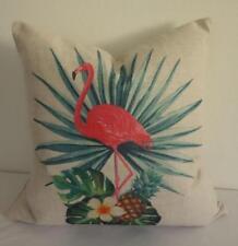 Pink Flamingo Pineapple Frangipani Linen Blend Cushion Cover 45cm