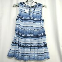 New Directions Blue White Stripe Ruffle Skirt Top Blouse Sz M Sleeveless Pull-on