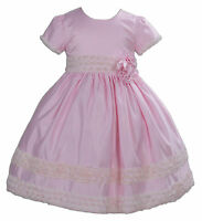 Satin Flower Girl Party Bridesmaid Pageant Dress Pink Ivory 2 3 4 5 6 7 Years