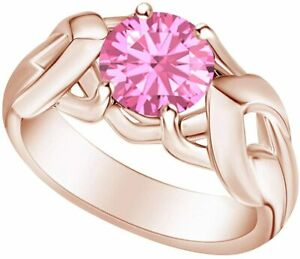 Round Simulated Tourmaline Solitaire Engagement Ring For Women In 14k Gold Over