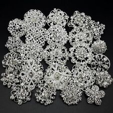 Lot 24pc Mixed Alloy Sliver Rhinestone Crystal Brooches Pins DIY Wedding Bouquet