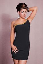 vestito monospalla tubino abito da cocktail nero J1