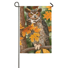 """OWL PERCHED IN TREE Autumn Fall 12.5"""" x 18"""" Small Decorative Banner Flag"""