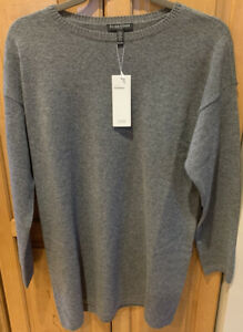 NWT Eileen Fisher Ash Gray Italian Seamless Cashmere Tunic Sweater $448 PM