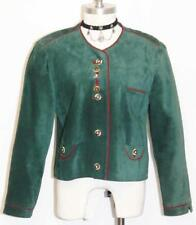 "LEATHER JACKET Over Coat Women German Western Dirndl Dress Coat GREEN B41"" 10 M"