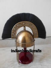 MEDIEVAL ROMAN HBO BRASS HELMET WITH BLACK PLUME WEARABLE CHIRSTMAS GIFT