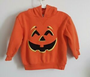MINIWEAR baby boy size 36 months orange JACK-O-LANTERN hooded sweatshirt