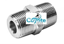 "Hex Nipple 3/8"" Npt Male 316 Stainless Steel High Pressure Coyote Gear Pipe 3000"