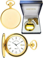 Mount Royal Hunter Pocket Watch Gold-plated Swiss Quartz Engraving B23QR
