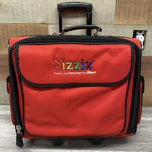 Sizzix Red Wheeled Die Carry Storage Tote Craft Organizer Case Scrapbook