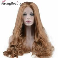 Long Curly Strawberry Blonde Wig Synthetic Heat Resistant Lace Front Wig Women